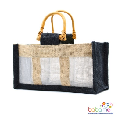 Pure Jute and Cotton Window Gift Bag Three Jars Black