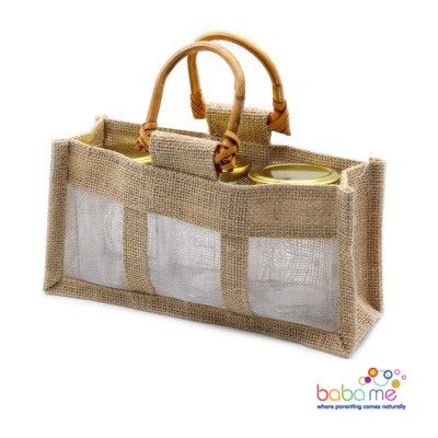 Pure Jute and Cotton Window Gift Bag Three Jars Natural