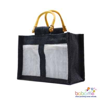 Pure Jute and Cotton Window Gift Bag Two Jars Black