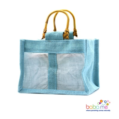 Pure Jute and Cotton Window Gift Bag Two Jars Teal
