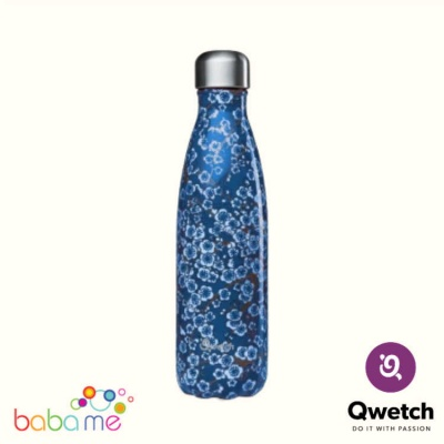 Qwetch Insulated Stainless Steel Bottle Flowers Blue 500Ml