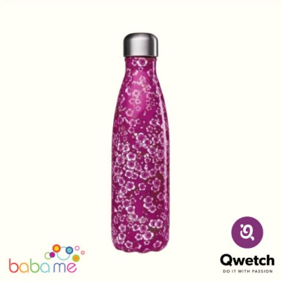 Qwetch Insulated Stainless Steel Bottle Flowers Pink 500Ml