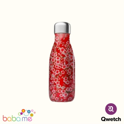 Qwetch Insulated Stainless Steel Bottle Flowers Red 260Ml