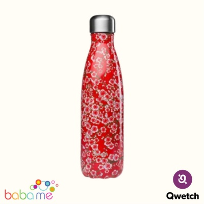 Qwetch Insulated Stainless Steel Bottle Flowers Red 500Ml