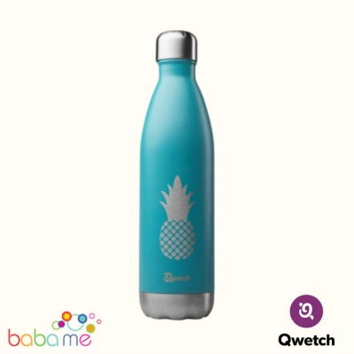 Qwetch Insulated Stainless Steel Bottle Pineapple Turquoise 500Ml