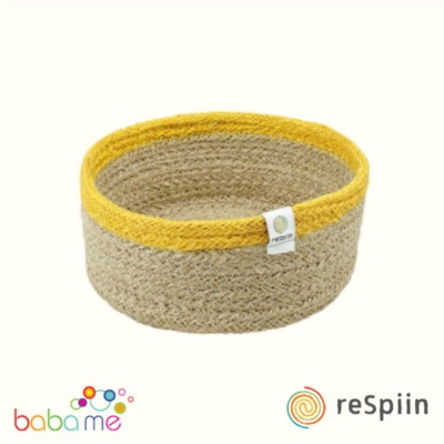 Respiin Shallow Jute Basket - Small - Natural/Yellow