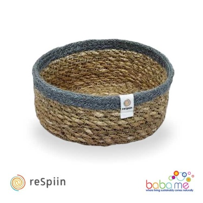 Respiin Shallow Seagrass & Jute Basket Natural / Grey Small