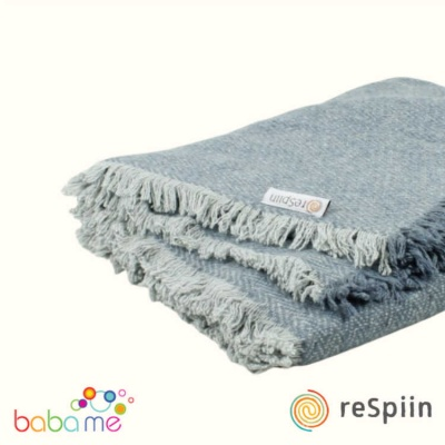 Respiin Zig Zag Wool Throw with Fringe - Denim