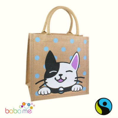 Shared Earth Jute Bag Cat Black White