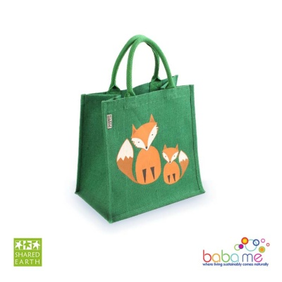 Shared Earth Jute Bag Sq Two Foxes