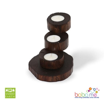 Shared Earth Teak Root Recycled T-Light Holder 3 Tier