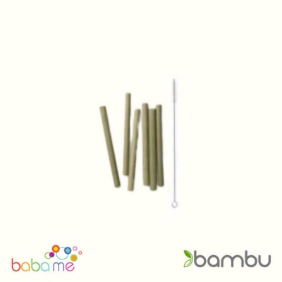 Bambu Short Bamboo Straws - Set Of 6 With Brush
