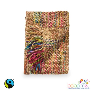 Soft woven multi coloured throw