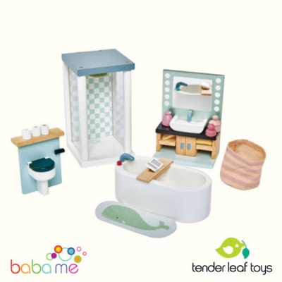 Tender Leaf Dovetail Dollhouse Bathroom Set