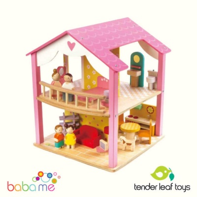 Tender Leaf Toys Pink Leaf Wooden Dolls House