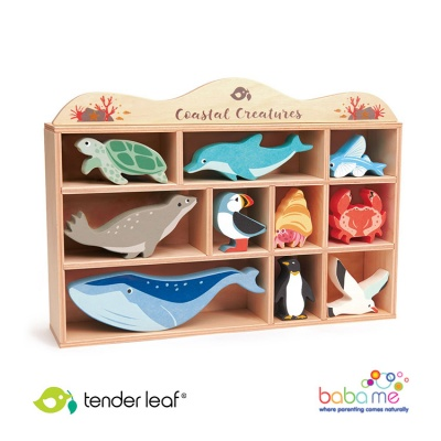 Tender Leaf Toys 10 Coastal Animals Shelf Set