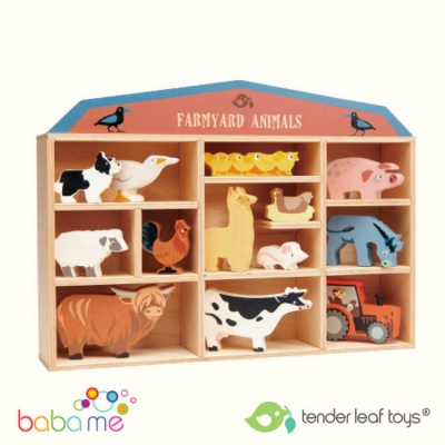 Tender Leaf Toys 13 Farmyard Animals Shelf Set