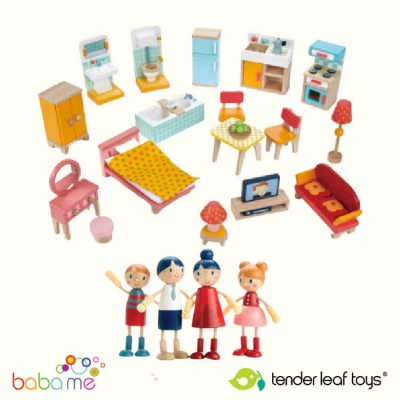 Tender Leaf Doll Family and Townhouse Furniture Set Bundle