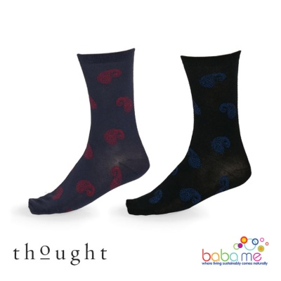 Thought Homer Organic Cotton Men's 200 Needle Leaf Print Bamboo Socks