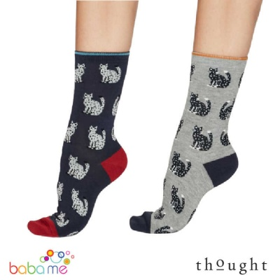 Thought Kitty Cat Bamboo Socks