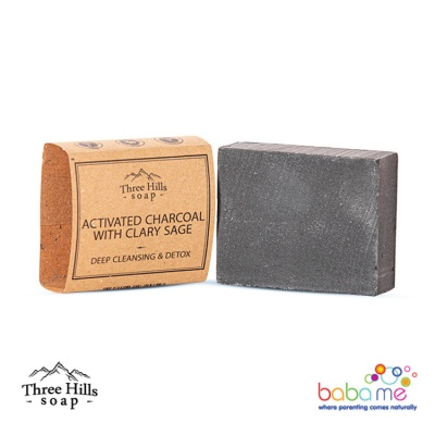 Three Hills Soap Activated Charcoal Soap With Clary Sage