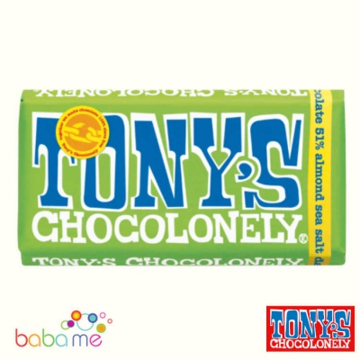 Tony's Chocolonely Dark Chocolate, Almonds & Sea Salt 180G