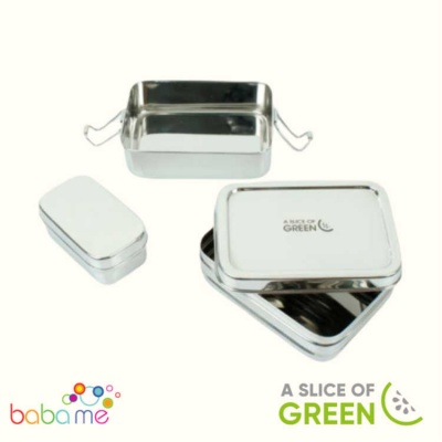 A Slice of Green Panna - Two Tier Lunch Box with Mini Container