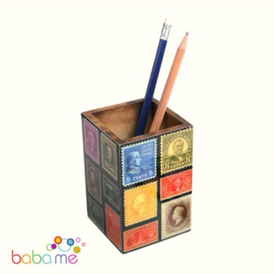 Wooden pen/pencil pot with recycled stamps