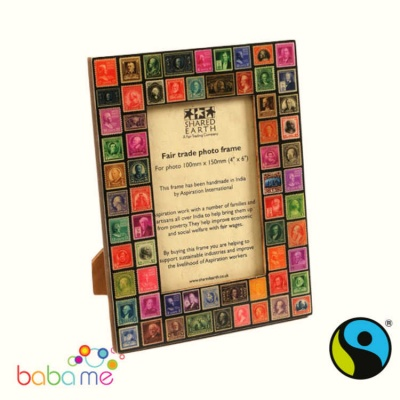 Wooden photo frame with recycled stamps 4x6
